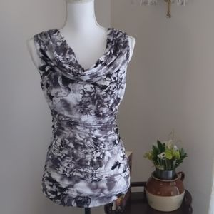 H & M Black and White floral print Top Small